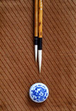 Chinese writing brush. Chinese Painting needed painting tools, pens, ink, paper, inkstone Stock Photo