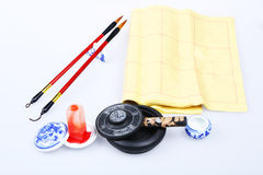 Chinese writing brushes and inkstone royalty free stock photos