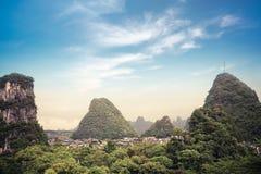 Chinese yangshuo county town scenery. Beautiful karst mountain scenery in yangshuo county town,China Royalty Free Stock Image