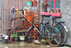 Chinese yard. Old bicycles in  Chinese yard Royalty Free Stock Photo
