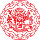 Chinese year of Dragon. Made by traditional chinese paper cut arts Stock Photos