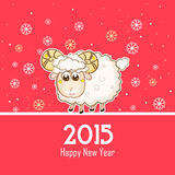 Chinese Year of the Goat celebration concept. Chinese Year of the Goat 2015 celebration greeting card design with cute Sheep on snowflake decorated red royalty free illustration