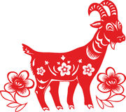 Chinese Year of the Goat 2015. Chinese Year of the Goat, Sheep 2015. Paper cutting style vector illustration