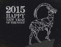 Chinese Year of the Goat 2015 vintage abstract card. New Year of the Goat 2015 Vintage retro style over blackboard background. EPS10 vector file organized in stock illustration
