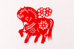 The Chinese year of the horse traditional paper-cut. Horse in the Chinese tradition Chinese zodiac, ranked seventh, a day of noon, that is, a bit at noon at Royalty Free Stock Photos