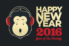 Chinese year of the Monkey 2016.. New Year vector  creative poster Stock Images