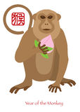 2016 Chinese Year of the Monkey with Peach Color Illustration. 2016 Chinese Lunar New Year of the Monkey Zodiac with Longevity Peach and Chinese Text Symbol of Stock Photo