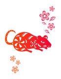 Chinese year of Rat. Made by traditional chinese paper cut arts Stock Photo