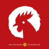 2017 - Chinese Year of the Rooster background.. Hand drawn red - white stamp with rooster. Chinese calligraphy rooster. Chinese rooster zodiac. Vector Stock Images