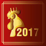 2017 Chinese Year of the Rooster poster. Vector illustration Stock Photos