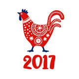 Chinese year of rooster 2017. Red cock, symbol of New Year 2017. Hand drawn  illustration for calendar, greeting card. Invitation. Decorative ornamental bird Royalty Free Stock Photos
