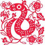 Chinese year of Snake. Made by traditional chinese paper cut arts Royalty Free Stock Photos