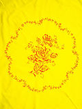 Chinese Yellow embroidered tablecloth Royalty Free Stock Images