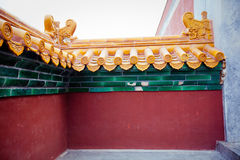 Chinese yellow   temple roof Summer palace Stock Photo