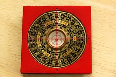 Chinese Yin Yang compass. The eight trigrams,a red Chinese Yin Yang compass Royalty Free Stock Photos