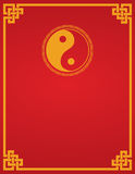 Chinese yin yang red background. Traditional Asian red and gold yin yang symbol design book cover or flier with space for text stock illustration