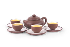 Chinese Yixing Tea Set. Of teapot and four cups with saucers Stock Photography