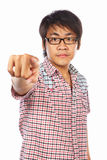 Chinese young adult pointing Royalty Free Stock Photo