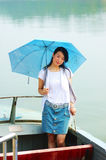 Chinese young girl on  boat. Chinese young girl on the boat Royalty Free Stock Photos