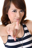 Chinese young girl point at you. Closeup portrait Stock Photos