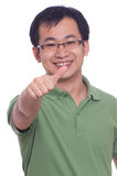Chinese Young Man. Chinese young male smile with thumb up Stock Photography