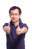 Chinese Young Man. Chinese young male smile with thumb up Royalty Free Stock Photos