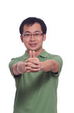 Chinese Young Man. Chinese young male smile with thumb up Royalty Free Stock Photography
