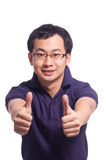 Chinese Young Man. Chinese young male smile with thumb up Stock Photos