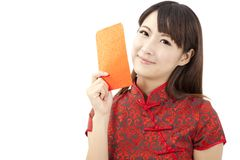 Chinese young woman holding red bag Stock Image
