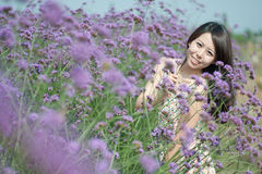 Chinese young women playing in the vast lavender Royalty Free Stock Photo