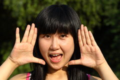 Chinese young women's portrait. In summer times Royalty Free Stock Photos