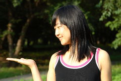 Chinese young women's portrait. In summer times Royalty Free Stock Photography
