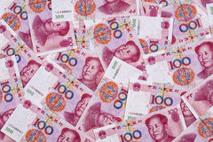 Chinese Yuan. Chinese 100 RMB or Yuan featuring Chairman Mao on the front of each bill royalty free stock images