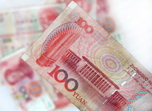 Chinese yuan. Close up of 100 chinese yuan note Royalty Free Stock Photos