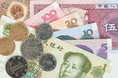 Chinese or Yuan banknotes money and coins from China's currency, Royalty Free Stock Photography