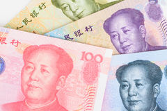 Chinese or Yuan banknotes money and coins from China's currency, Stock Image