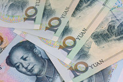 Chinese Yuan banknotes (renminbi)  for money and business  conce Royalty Free Stock Image
