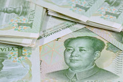 Chinese Yuan banknotes (renminbi)  for money and business  conce Royalty Free Stock Photos