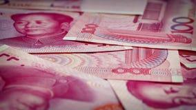 Chinese 100 Yuan Bills Rotating stock videobeelden