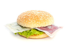 Chinese Yuan burger with bank notes Stock Images