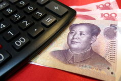 Chinese yuan with calculator Stock Images