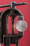 Chinese yuan coin in old vise Royalty Free Stock Photography