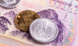 Chinese yuan coins and banknote Royalty Free Stock Images