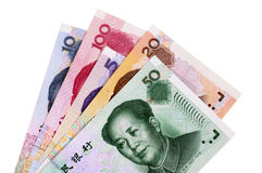 China money : Various different Chinese Yuan currency bills isolated on white background Royalty Free Stock Photo