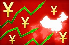 Chinese yuan currency growth illustration with green up arrows. Background stock illustration