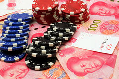 Chinese yuan currency with poker chips Royalty Free Stock Photo