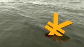 Chinese yuan drowning in the ocean economy crisis concept Stock Photo