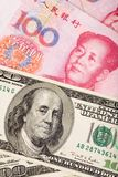Chinese yuan en ons dollar Royalty-vrije Stock Afbeeldingen