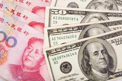 Chinese yuan en ons dollar Stock Foto
