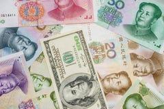 Chinese yuan en ons dollar Royalty-vrije Stock Afbeelding